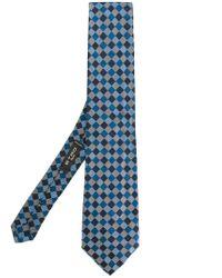 Etro - Blue Geometric Pattern Tie for Men - Lyst
