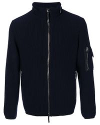 Giorgio Armani - Blue Ribbed Zipped Cardigan for Men - Lyst
