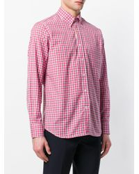 Canali - Red Checked Button-down Shirt for Men - Lyst