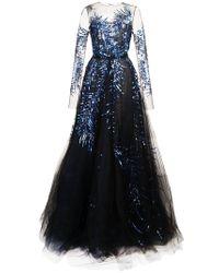 Oscar de la Renta - Blue Fern Embellished Evening Gown - Lyst