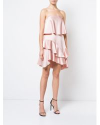 Halston Heritage - Pink Layered Frill Trim Asymmetric Hem Dress - Lyst
