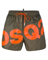 DSquared² - Green Slanted Logo Swim Shorts for Men - Lyst