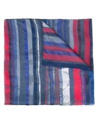 Armani - Blue Striped Scarf - Lyst