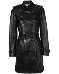 Burberry - Black Double Breasted Coat - Lyst