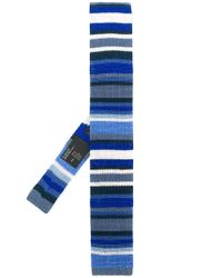 Etro - Blue Stripe Knitted Tie for Men - Lyst