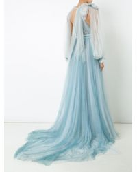 Marchesa - Blue Billowing Floral Detail Gown - Lyst