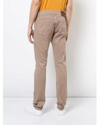 Isaia Brown Straight Leg Jeans for men