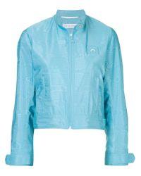 MARINE SERRE Blue Moire Bomber Jacket