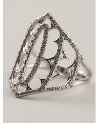 Loree Rodkin - Metallic White Gold And Grey Diamond Pavé Shield Ring - Lyst