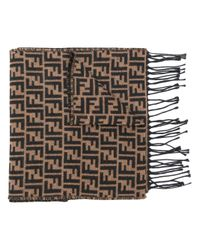 Fendi - Brown Ff Logo Knit Scarf for Men - Lyst