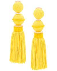 Oscar de la Renta - Yellow Tassel Drop Earrings - Lyst