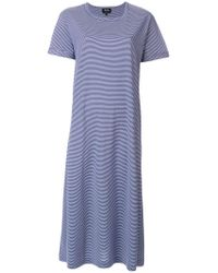 A.P.C. - Blue Striped T-shirt Dress - Lyst