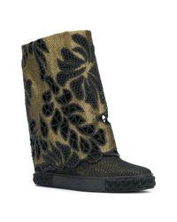 Casadei - Black Perforated Denim Boots - Lyst
