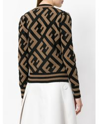 Fendi - Brown Ff Logo Knit Sweater - Lyst