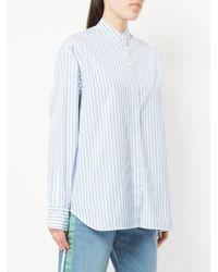 Victoria Beckham - Blue Striped Oxford Shirt - Lyst