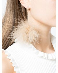 Tuleste - Natural Pom Pom Drop Earrings - Lyst