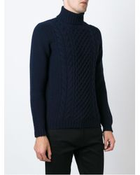 Drumohr - Blue Cable Knit Sweater for Men - Lyst