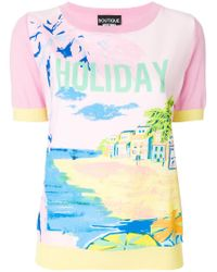 Boutique Moschino - Multicolor Holiday Print T-shirt - Lyst