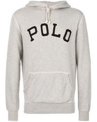 Polo Ralph Lauren | Gray Embroidered Hooded Sweatshirt for Men | Lyst