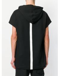 Les Hommes - Black Shortsleeved Hoodie for Men - Lyst