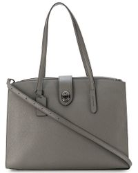 COACH - Gray Turnlock Charlie Tote - Lyst