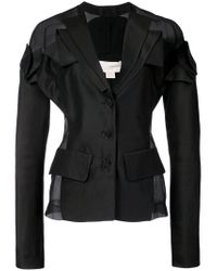 Antonio Berardi - Black Fitted Sheer Panel Blazer - Lyst