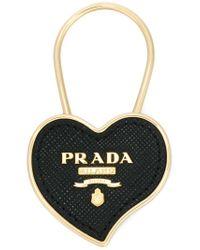 Prada Black Logo Saffiano Heart Keyring