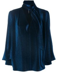 Plein Sud - Blue Metallic Neck-tied Blouse - Lyst