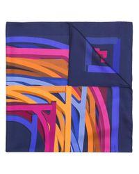 Ferragamo - Blue Geometric Print Scarf - Lyst