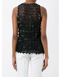 Carven - Black Geometric Sheer Tank - Lyst