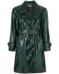 Prada - Green Varnish Finished Trench Coat - Lyst