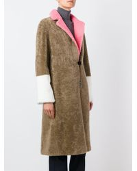 Saks Potts - Brown Contrast-Sleeves Shearling Coat - Lyst