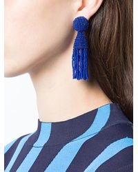 Oscar de la Renta - Blue Tassel Drop Earrings - Lyst