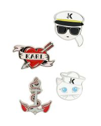 Karl Lagerfeld - Multicolor Captain Karl Brooches - Lyst