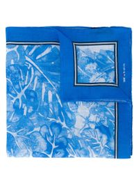 Kiton | Blue Floral Print Pocket Square for Men | Lyst