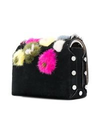 Jimmy Choo - Black Lockett Petite Mink Pom Pom Bag - Lyst