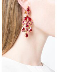Oscar de la Renta - Metallic Baroque Crystal Clip On Earrings - Lyst