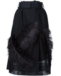 Vera Wang - Black Feather Appliqué Skirt - Lyst