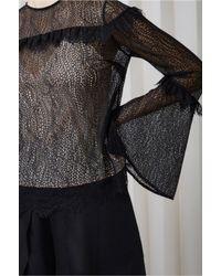 Keepsake - Black Slide Long Sleeve Lace Top - Lyst