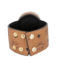 MCM - Metallic Gold Visetos Bracelet Cognac - Lyst
