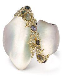 Alexis Bittar - Multicolor Lucite, Crystal Lace & Labradorite Asymmetrical Hinge Bangle - Lyst