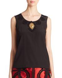 Dolce & Gabbana - Black Sacred Heart Silk Top - Lyst