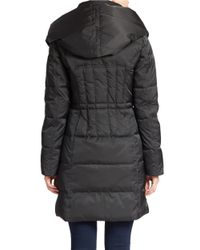 Betsey Johnson - Black Hooded Quilted Down Coat - Lyst