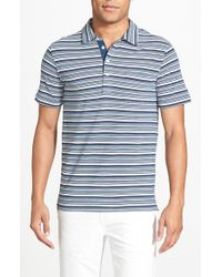 Billy Reid | Blue 'Pensacola' Stripe Cotton Pique Polo for Men | Lyst