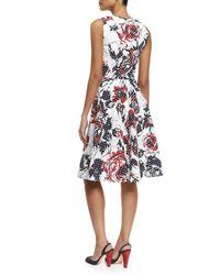 Carolina Herrera - Red Dotted Rose-print Sleeveless A-line Dress - Lyst