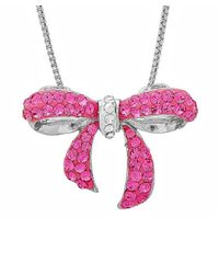 Amanda Rose Collection - Metallic Sterling Silver Pink Crystal Bow Pendant Necklace With Swarovski Elements - Lyst