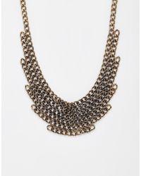 Pieces - Metallic Ravona Linked Chain Necklace - Lyst