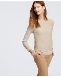 Ann Taylor | Natural Shimmer Front Sweater | Lyst
