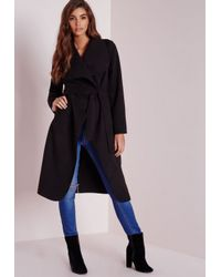 Missguided - Waterfall Coat Long Length Black - Lyst