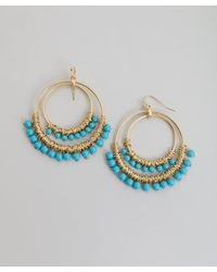 Kenneth Jay Lane - Blue Turquoise Beaded Hoop Earring - Lyst